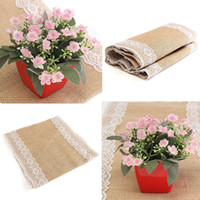 Wholesale Natural Elegance Burlap Lace Table Cloth Rustic Fabric Home Wedding Party Decoration Home Kitchen Table Supplies X176cm