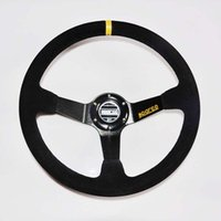 Wholesale Hot Modified Steering Wheel mm inch Deep Dished Sport Racing Suede Alloy Genuine Leather Steering Wheel
