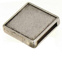 Wholesale beads charms metal antique silver slide square diy cabochon set fashion jewelry findings for leather bracelets mm wide hole mm
