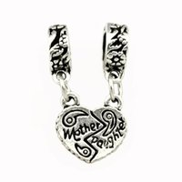 Wholesale 2014 New Arrival Silver Beads Mother Daughter Heart to Heart Pendant Fit Pandora Charms Bracelet Necklace