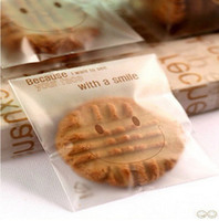 bakery bread - 300pcs Lovely Smiling Face Design baking cookies bags bakery packaging self adhesive OPP Plastic bread bags X14cm