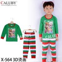 pajamas for children - New girls pajamas sets for christmas new year wear elsa printed tops stripe pants girl sleepwear suit children s leisure wear