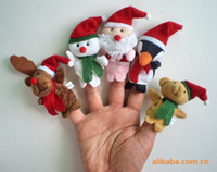 Cheap 50set lot kids Cartoon Animal Plush Christmas Finger Puppets Set Bright Color Funny and Educational Story Telling Toy Child Gift
