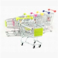 Wholesale 5000pcs CCA3015 Candy Color Cute Shopping Cart Mobile Phone Holder Pen Holder Mini Supermarket Handcart Shopping Utility Cart Phone Holder