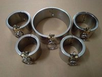 Wholesale 5CM high Stainless Steel Plum blossom lock Handcuffs Fetter Collar lock sex game sets with Round Lock in it