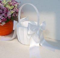 Wholesale 2016 Fashion Ivory Bow Wedding Ceremony Party Love Case Satin Flower Girl Basket Wedding Supplies