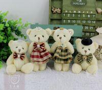 bag gift uk - The UK grid stuffed teddy bear wedding gift cartoon bouquet bag lover bear dolls pendants