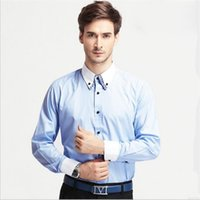 Wholesale Fashion Dress Shirts Men Casual Shirts Double Turn down Solid Single Breasted Shirts chemise homme