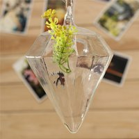 Wholesale New Arrival Hanging Glass Plants Flower Vase Hydroponic Container Party Decor diamond Shape Height cm order lt no track
