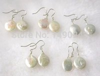 aa grade freshwater pearls - Grade AA Cultured Freshwater mm Sterling Hook White Coin Pearl Drop Earring Sold By Pair