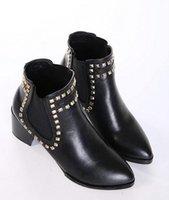 Wholesale ankle boot ladies fuax leather winter autumn boots kitten heels New Women s Fashion Pary Punk Rivets Shoes COLOR DH887