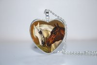 horse jewelry - 10pcs Horse Love Heart Pendant Horse Jewelry Horse heart Necklace Glass Photo Cabochon Necklace