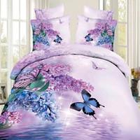 achat en gros de feuilles reine papillon-Gros-Light Violet Bleu Fleur et papillon 3D Literie Queen Size 4pcs 100% coton Quilt / housse de couette Drap de lit en lin Taie
