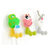 Wholesale Cute Cartoon Animal Sucker Silicone Lovely Toothbrush Holder Wall Suction Cup Bathroom Sets a2