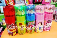 Wholesale Sets Fashion Children Colored Pencil Cartoon Colors Pencil Stationery Set A2643