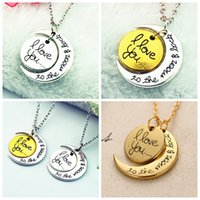 pendant - 2015 Hot Styles I Love You To The Moon and Back Necklace Lobster Clasp Pendant Necklaces