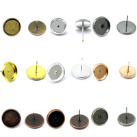 bezel round earrings - Beadsnice brass earring stud base round cabochon setting bezel blanks earrings findings women fashion jewelry components ID