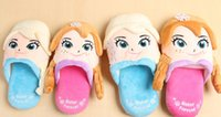 Wholesale cartoon Frozen slippers FROZEN elsa anna winter slippers Indoor slippers D winter slippers Plush Stuffed Slippers in stock