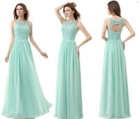 Wholesale Mint Green Chiffon Cheap Bridesmaid Dresses Jewel Neck A Line vintage Formal Maid of Honor Gowns In Stock Under DH06