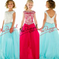 little girl dresses - Custom Elegant Pageant Dresses for Girls Bateau Crystals Beads Kids Prom Dress Floor Length Zipper Little Girl Pageant Interview Outfits