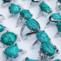 Wholesale Natural Mix Style Turquoise Women Mens Ball Party Rings Jewelry A