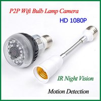 Wholesale 2014 New P2P Wifi Mini Bulb Lamp Camera Full HD P H Hidden Bulb DVR Camera LED IR Night Vision With Motion Detection Function