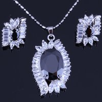 Earrings & Necklace asian style bags - Luxury Leaf Style Black Sapphire Cubic Zirconia for Women s K White Gold Plated Earrings Pendant Necklace Jewelry Sets Free Gift Bag H0070