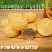 Wholesale 50pcs Handmade All Natural Beeswax Candles x1 cm Plastic Shell Candle Cotton Wicks