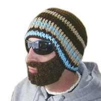 Beanie/Skull Cap beards hats - 2017 Real Time limited Hats For Beanie Hat Fashion Funny Acrylic Handmade And Dark Striped Beard Knitting Cap brown Detachable