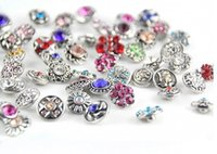 Wholesale small button giner Mixed mm New Mini Snap Buttons Rhinestone Colorful Pattern DIY snap button charm mix styles colors button