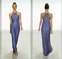 amsale bridesmaid gowns - Amsale New Cheap Vintage Plus Size Lace Long Bridesmaid Dresses Sheer Halter Neck Hollow Back Sheath Junior Bridesmaid Gowns DL1314019