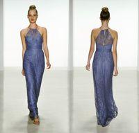 amsale bridesmaid gowns - Amsale Cheap Vintage Plus Size Lace Long Bridesmaid Dresses Sheer Halter Neck Hollow Back Sheath Junior Bridesmaid Gowns DL1314019