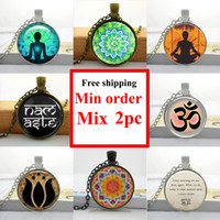 om pendant - NS Glass Cabochon Necklace Sliver Art Om Yoga Pendant Meditation Art Pendant Personalized Picture Necklace