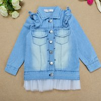 Wholesale Girls Grenadine Denim Jean Jacket Lace Princess Outwear Long Sleeve Overcoat Cute Fabric Ruffle Cowboy coat T