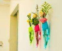 venda por atacado and plastic flower vases-Peixe criativo em forma de flor de parede vaso montado na parede removível transparente vaso plástico Flor para decoração de casa ornamento de jardim