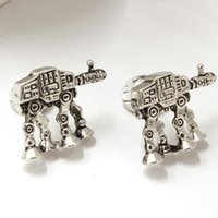 armored plates - 2016 Hot Movie Star Wars AT AT All Terrain Armored Transport Cufflinks Antique Silver Plated Men Shirt Cuff Links Retail