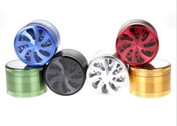 aluminium fans - DHL free aluminium layer mm fan style herb grinder Sharp Stone herbal tobacco filter net dry herb grinding of cigarettes smoke cracker