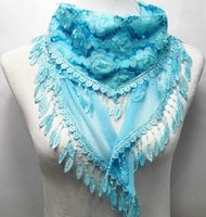 sequin scarves - Luxury women chiffon lace scarf wraps long triangle floral sequins tassel warm scarves collar headbands