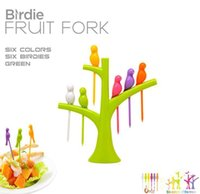Wholesale Design plastic fruit trees birds fork cutlery Set