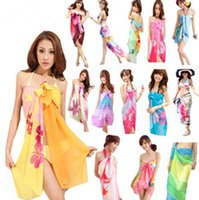 Wholesale Women s Bikini Cover up Scarf Sarong Cover Up Miss Swimwear Beach Scarf Pareo Dress Skirt Beach Chiffon Wrap