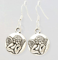 antique care - 2016 HOT Antique Silver Baby Angel Of Caring Earrings Silver Fish Ear Hook Chandelier E089 x15 mm