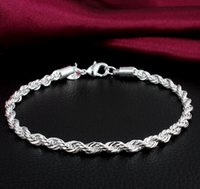 Wholesale Top Grade Silver Charm Bracelet Hot Sale Rope Link Chain Cuff Bracelets For Women Girl Men Party Fashion Jewelry Free Ship YDH