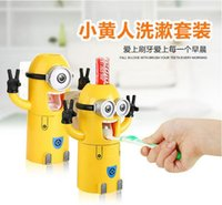 Wholesale Creative cartoon minions food grade plastic vacuum squeezer Automatic Auto Easy Touch Toothpaste Squeezer Dispenser Hands Free Squeeze Out
