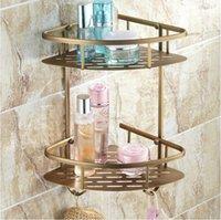 antique corner shelves - Beelee BL170A Antique Elegant Double Shelves Brass Material Bathroom Shelf Bathroom Storage Wall Mounted Baskets Corner