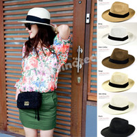 Wholesale Panama Straw Hats Fedora Soft Vogue For Unisex Men Women Stingy Brim Caps Colors Summer Sun Beach Trilby Gangster Linen Jazz Free Dropship