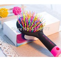 Wholesale Rainbow Color Magic Hair Comb Paddle Hair Brush Salon Comb Hairbrush Anti Tangle Hair Massage Healthy Brush with Mirror