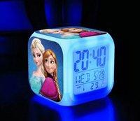 Wholesale New D LED Cartoon Frozen Digital desk table alarm clock Elsa Anna olaf snowman daily alarms change watch Glowing Clocks with Retail box
