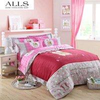 barcelona sheets - 100 cotton cartoon bed linen pink girl rabbit bedding set flat sheet pillow sham doona duvet cover barcelona