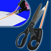 Wholesale DHL Portable Multi purpose Laser Guided Fabric Scissors Aim Trimmer Cuts Straight Line Fast Household Scissors Hand Tools W0033