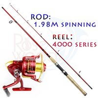 Wholesale cheap fishing rod and fishing reels set series metal spinning reels with m fishing spinning rod sections fishing set